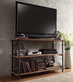Vintage Tv Stand Can Hold a Tv up to 48 Inches. It Has a Nice Black Frame Which Provides Storage Space Guaranteed to Hold a Dvd Player, Magazines and Books.