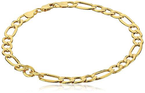 "14k Yellow Gold Diamond-Cut Figaro Link Bracelet, 7.5"""