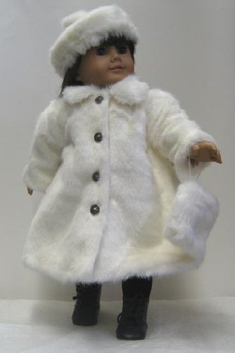 White Fur Coat with Matching Accessories. Fits 18