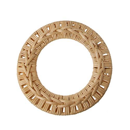 (VIccoo Round Rattan Bag Handle DIY Bag Hanger Wooden Bamboo Purse Frame Fashion Strap Cane Straw Bag Handle - D#)