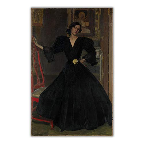 DNJKSA Joaquin Sorolla Lady of Sorolla Art Poster Print on   Canvas Pictures Imagenes de la Sala de Estar Decoracion para el hogar 24x40 IN Sin Marco