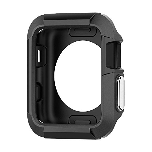 42mm Rugged Armor Apple Watch Case TPU Shock Resist Waterproof for Series 3, Series 2, Series 1, Nike+ Sport Edition - Black by Zesmart