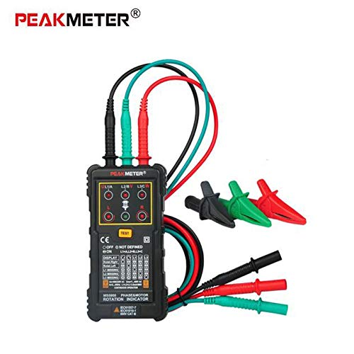 (PEAKMETER PM5900 3 Motor Rotation Indicator Meter Sequence Tester Rotary Field Indicator 3 Phase System Motor Testing Multimetro)