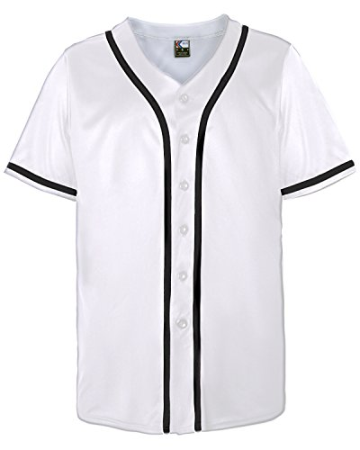 MOLPE Button Down Baseball Jersey (M, White/Black-2)