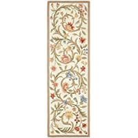 Earthy Floral Scrolls Patterned Area Rug, Bright Tropical Flowers Vines Leafs Themed, Runner Indoor Hallway Doorway Living Area Bedroom Cabin Carpet, Modern Nature Lovers Design, Ivory, Size 26 x 6