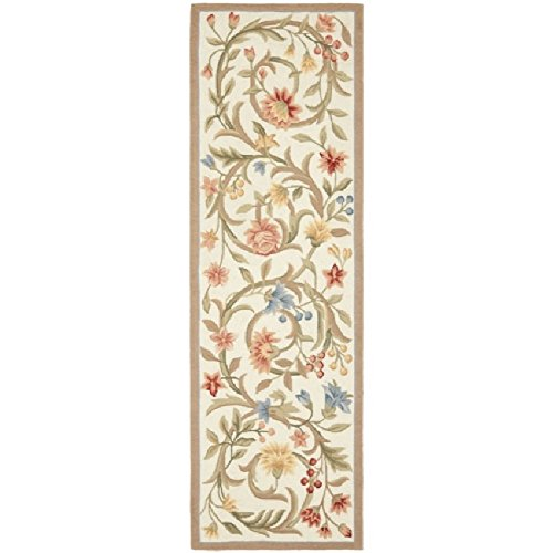 Wool Tropical Floral Area Rug - Earthy Floral Scrolls Patterned Area Rug, Bright Tropical Flowers Vines Leafs Themed, Runner Indoor Hallway Doorway Living Area Bedroom Cabin Carpet, Modern Nature Lovers Design, Ivory, Size 2'6 x 6'