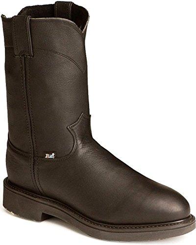 Jow Men's Justin Original Work Boot Pull-On Round Toe Black