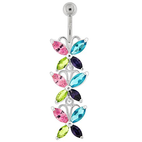 Multi Colored CZ Stone Triple Butterfly Dangling 925 Sterling Silver Belly Button Piercing Ring Jewelry