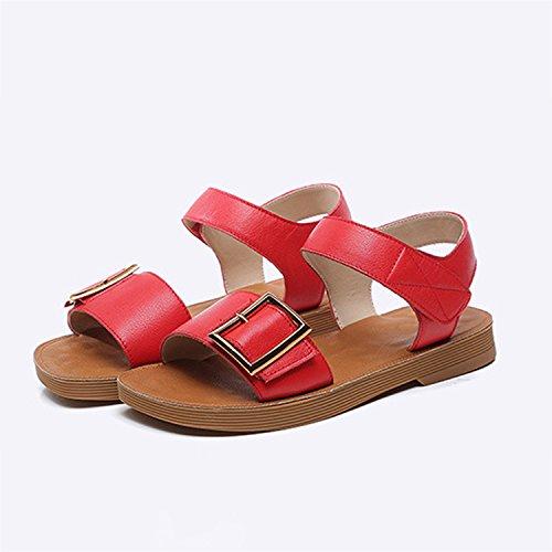 alon Frestepvie Chaussures Plage Femme Tong Rouge Plates Sandales Été Compensées Enfiler qqntaw6CSU