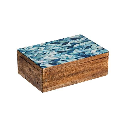 Matr Boomie Handmade Small Decorative Box with Chevron Mosaic Pattern Inlay