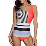 Women's One Piece Swimsuits for Women Bathing Suits Athletic Training Womens Swimsuits Swimwear Racerback Red and Purple Striped Stitching Large (fits Like US 10-12)