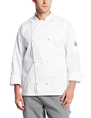 Chef Revival J003 Poly Cotton Knife and Steel Long Sleeve Chef Jacket with Cloth Knot Button, Small, White