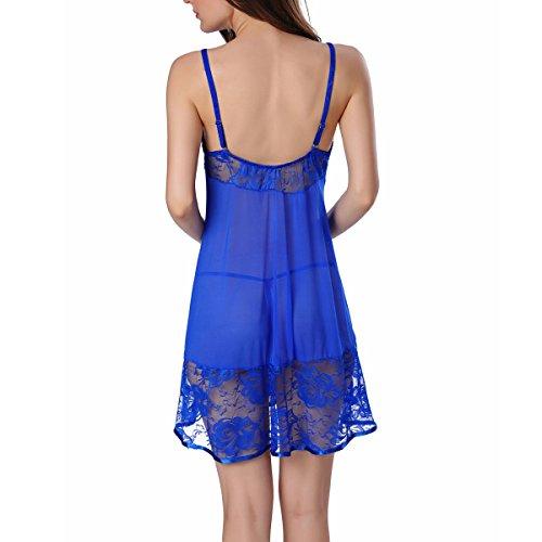 Patios Grandes Señoras De Encaje Transpirable Falda De Los Apoyos Pijamas Blue