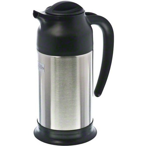 Update International (SV-70) 24 Oz Black and Stainless Cream - Cream Pitcher