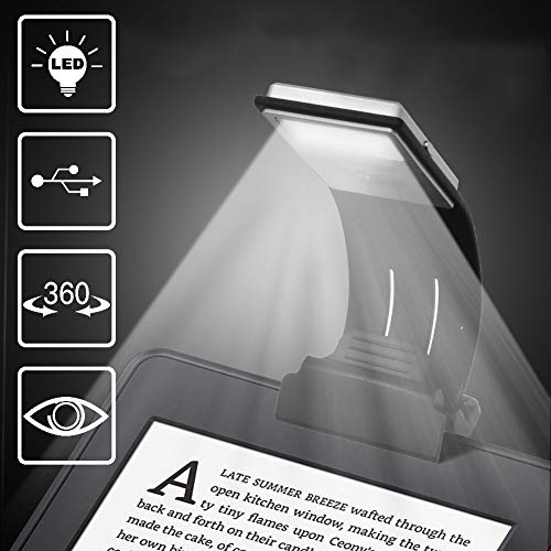 Ytuomzi LED Lamp USB Rechargeable Flexible Night Reading 4 Level Brightness 360 °Adjustable Clip on Work/Desk/Bed Lights for Amazon Kindle/eBook Reader/Book/iPad