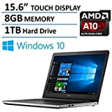 "2016 Newest Dell Inspiron 15 5000 Premium 15.6"" HD Touchscreen Laptop, AMD Quad-Core A10-8700P Processor up to 3.2GHz, 8GB Ram, 1TB HDD, DVD RW, Backlit Keyboard, Bluetooth, HDMI, Webcam, Windows 10"