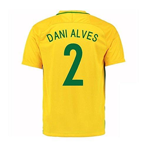 Dani Alves # 2Home Jersey de fútbol de Brasil Copa América Centenario 2016Juventud.,  Amarillo