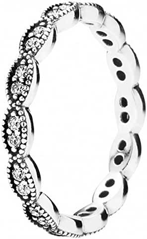 Pandora Sterling Silver Sparkling Leaves Stackable Ring with Clear Cubic Zirconia - 190923CZ-52