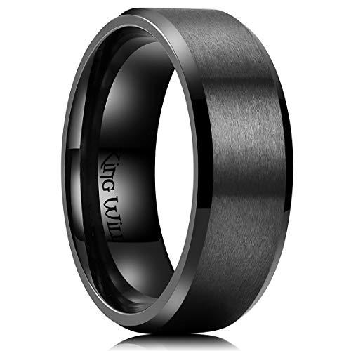 King Will Men's 8mm Black Titanium Wedding Ring Matte Finish Beveled Polished Edge 13.5