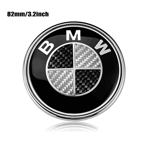 ESKey Replacement of BMW BLACK CARBON Emblem Hood Trunk Logo Suitable for ALL BMW LOGO Models DECAL E30 E34 E36 E38 E39 E46 E60 E65 X3 X5 X6 Series 3 4 5 6 7 8, 82mm BLACK AND SLIVER