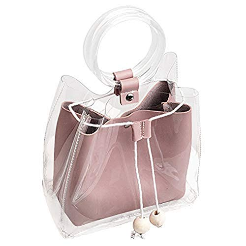 Clear Bag DALFR Waterproof Purse Chain Candy Color Jelly Transparent Purses And Handbags for women (Pink)