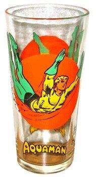 Aquaman Moon Glass Pepsi DC Comics Super Series Vintage 1976 Clean Bright Colors - Pepsi Vintage Glasses