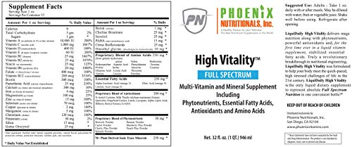 41jDlGQ9qlL - Phoenix Nutritionals High Vitality Natural Liquid & Vitamin Mineral Supplement, High Energy, Anti-Aging Formula, Mixed Fruit Flavor, Gluten Free, Sugar Free, Highly Absorbable