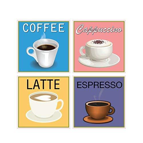 Coffee Cappuccino Latte Concession Restaurant Die-Cut Window Static Cling Inside Glass Vinyl Sticker 10 inches on Longest - Film Window 10 Die Cut Inch