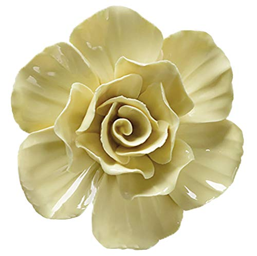 (ALYCASO 3D Rose Wall Flower Decoration for Living Room Bedroom Hanging Ceramic Flower Pediments Sculpture, Yellow, 4.33 inch)