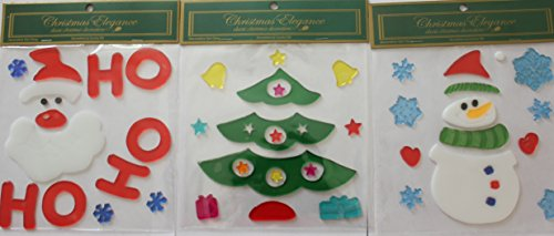 (3) Reusable Window Gel Art, Christmas. Holidays Seasons Collection by Country Silk (Image #1)