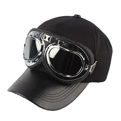 AcisuHu Unisex Vintage Fashion Pilot Glasses Protection Baseball Hat Solid Sunscreen Cap Topee (B, Free)