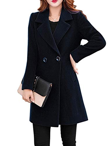 Jenkoon Women's Winter Outdoor Double Breasted Cotton Blend Pea Coat Jacket (Black, Large)