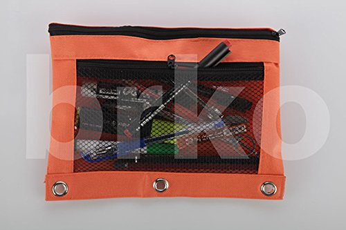 Pencil Bag with Zipper for Kids & Adults by Boona|3 Ring Binder Pouch for Fountain Pens|2 Compartments & Mesh Window|Canvas Organizer|Art Marker & Crayon Carrying Pouch|Washable (5 Pack of 6 colors) by KP Solutions (Image #5)