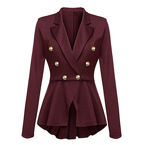Arricciature Con Blazer Maniche A Jacket Peplum Casual Donna Da Coat Vino Lunghe Giacca Moda Outwear Alla Button Rosso 8zxwI