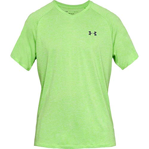 Under Armour Men's Tech 2.0 V-Neck Short Sleeve T-Shirt, Zap Green (722)/Jet Gray, Small ()