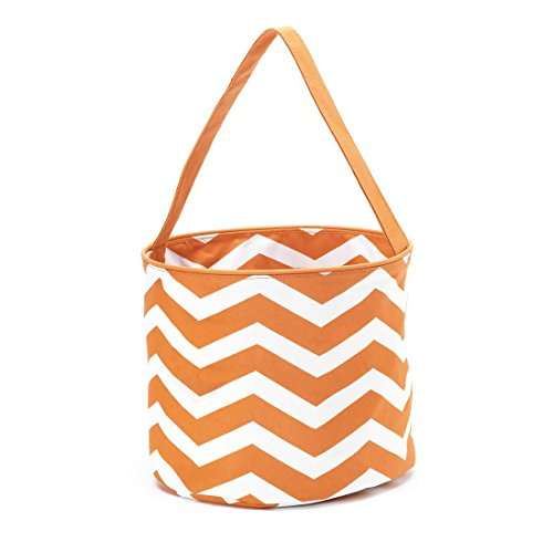 Halloween Polyester Trick-or-Treat Easy Carry Lined Bucket Tote Bag (Orange