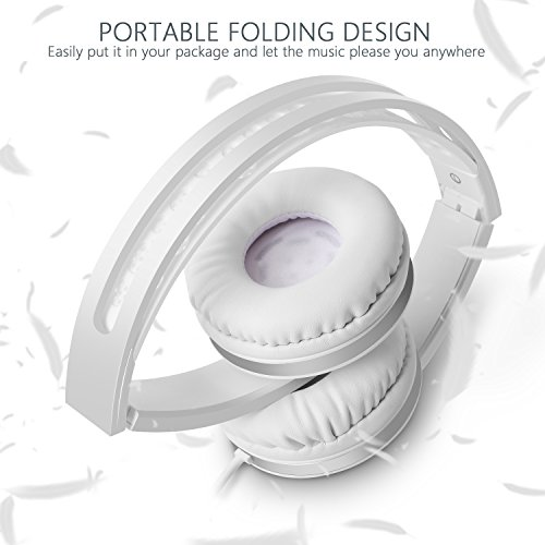 On Ear Headphones with Mic, Jelly Comb Foldable Corded Headphones Wired Headsets with Microphone, Volume Control for Cell Phone, Tablet, PC, Laptop, MP3/4, Video Game (White) by Jelly Comb (Image #1)