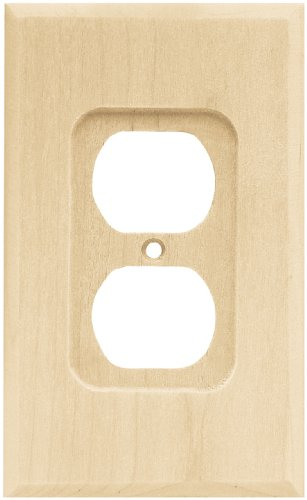 - Brainerd 64666 Wood Square Single Duplex Outlet Wall Plate / Switch Plate / Cover, Unfinished
