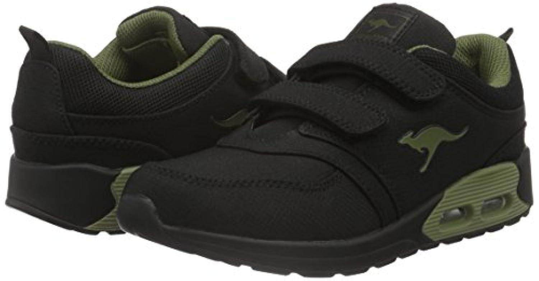 KangaROOS Unisex Kids' Kanga X 2000 V Low-Top Sneakers, Black - Schwarz (Black/Olive 582), 1 UK