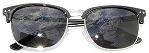 Retro Half Frame Horned Rim Sunglasses Colored Lens for Mens or Womens