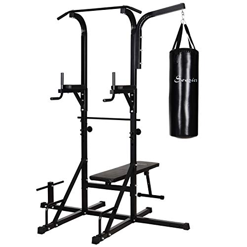 Soozier 86″ Full Body Power Tower Home Gym Fitness Station with Punching Bag Adjustable Sit Up Bench