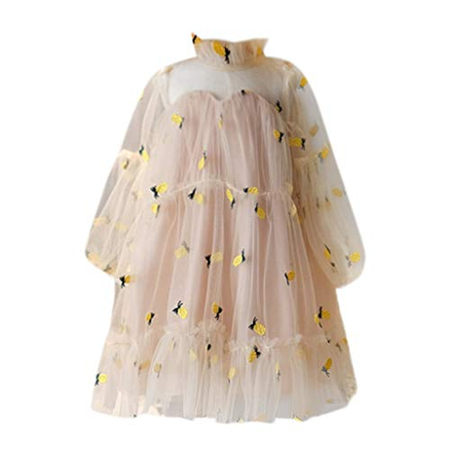 MOGOV Toddler Baby Girls Comfortable Long Sleeve Pineapple Embroidery Princess Dress Tulle Dresses Yellow -