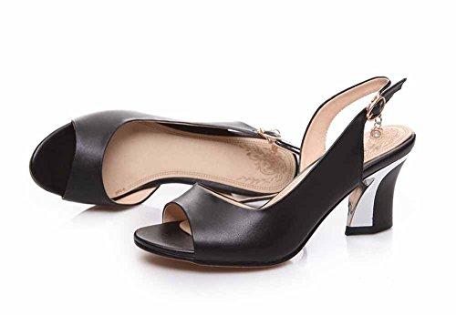 Donne New Toe Di Qualità Peep Cuoio Black Alta Metallo 43 40 Dorato Genuine In Estate Dorato Pompe GLTER Sandali t1dqwx1X