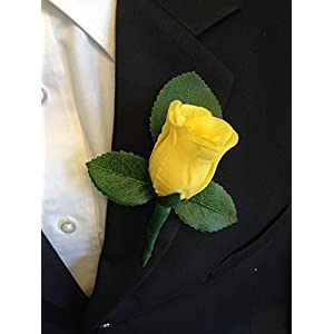 Boutonniere - Yellow Rose Boutonniere with Pin for Prom, Party, Wedding 44
