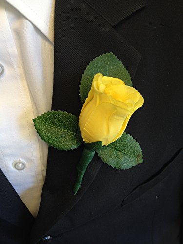 Boutonniere - Yellow Rose Boutonniere with Pin for Prom, Party, Wedding ()