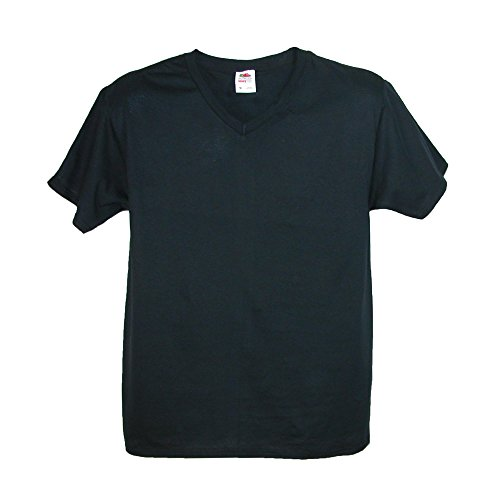Fruit of the Loom Big and Tall V Neck Cotton T Shirt, 2X, Black