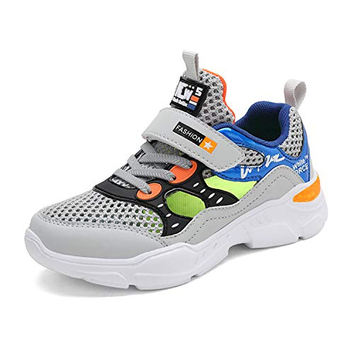 KIKOSOCKS Kids Sneakers Fashion Ultra Lightweight Breathable Athletic Running Walking Casual Shoes Boys Blue/Grey 5 M US