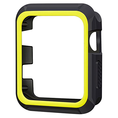 iiteeology Compatible Apple Watch 42mm, Rugged Slim Protective Case for iWatch Series 3/2/1 (Black/Volt)