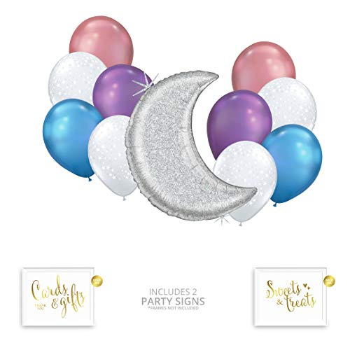 (Andaz Press Pastel Iridescent Moon and Stars Party Balloon Bouquet Set, Unicorn Holographic Party Supplies, Inflatable Foil and Latex Balloons, Bulk Balloon Kits for Birthday Party Decoration Ideas)