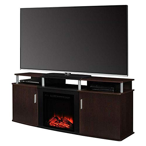 Modern Electric Fireplace TV Stand in Cherry Black Wood Finish - Holds up to 70-inch TV